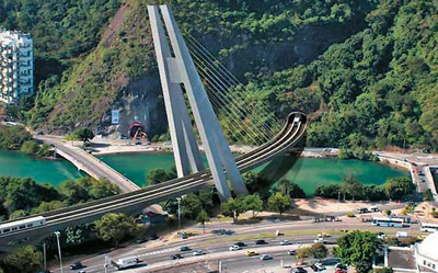 Bridge entrance to the 10km tunnel just outside the Olympic Park station (Jardim Oceânico) in Barra. From here the tunnel will cross the Tijuca National Park to Gávea