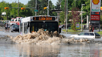 Damage caused by the flood in Calgary is estimated at £500 million