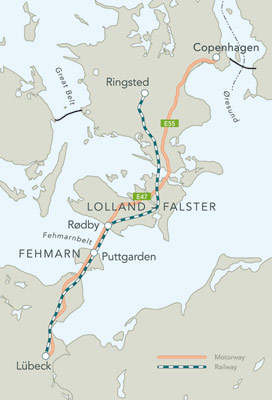 Femarnbelt immersed tube connects Germany and Denmark