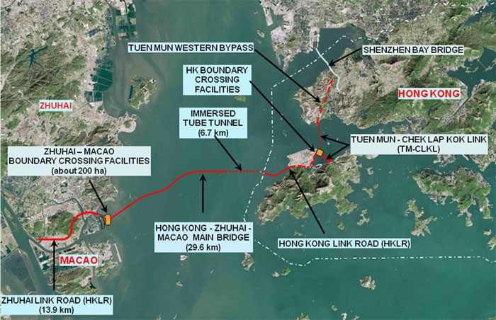 Fig 1. Layout of the Hong Kong-Zhuhai-Macao sea-link project