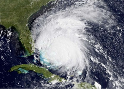 Satellite image of Hurricane Irene as it approaches to the USA