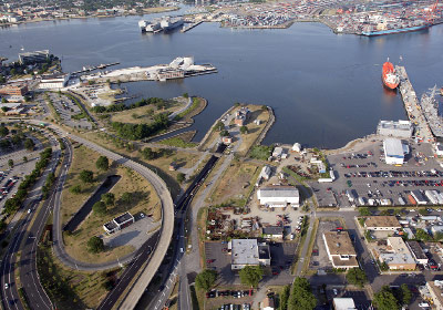 Aerial view of Norfolk side entrance to Midtown tunnel