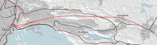 Alignment of the 22km long underground rail route
