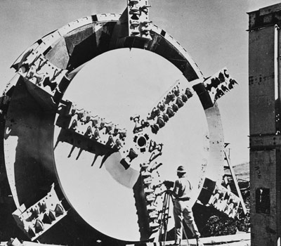 James Robbins developed the first modern TBM for the Oahe Dam Project in South Dakota, USA, 1952