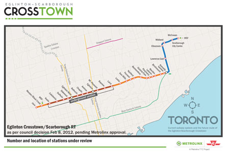 Fig 1. 19km Crosstown LRT alignment (orange and brown)