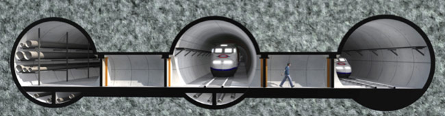 Fig 3. Parallel tunnels for equipment and hydrocarbon transportation, emergency/evacuation and personnel transportation and gas emission relief