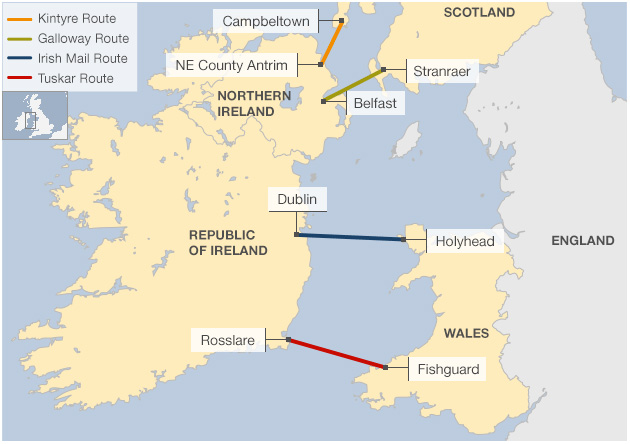 Proposed fixed links between the UK and Ireland