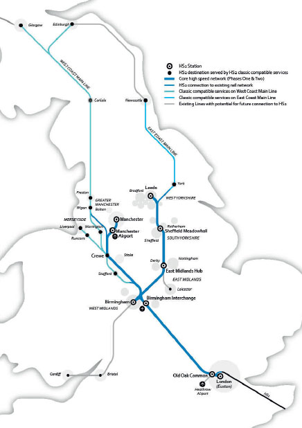 HS2 Phase 1 and 2, with connections