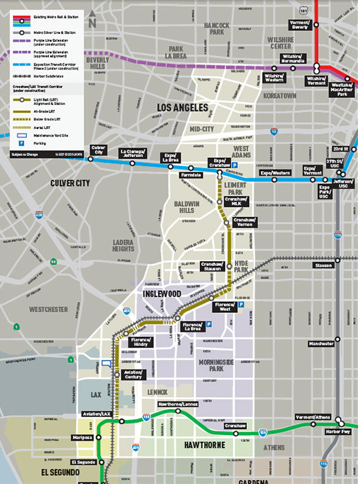 Route of the 13.5km Crenshaw/LAX light rail line