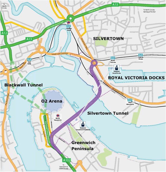 Fig 1. Silvertown and Blackwall tunnel alignments