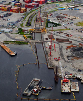 Norfolk side cofferdam costruction (Aug 2013)