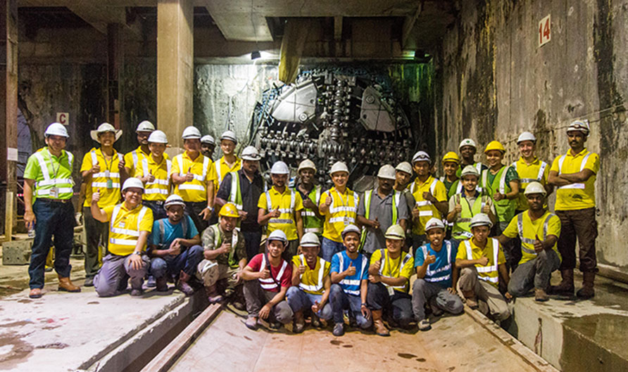 Breakthrough into Merdeka Station to complete the full southbound running tunnel