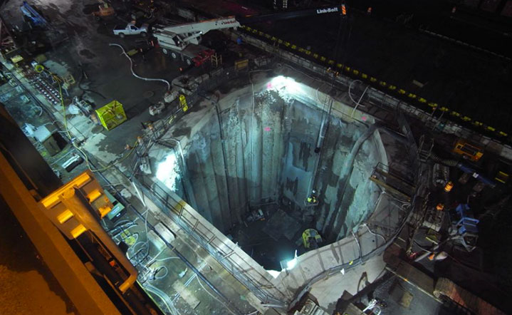 Recovery shaft excavation caused delays