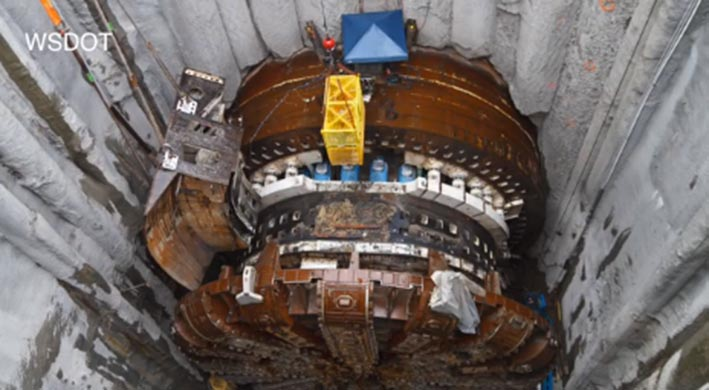 Damaged TBM Bertha in the recovery shaft