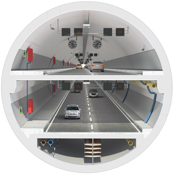 Fig 3. Section of the double-deck highway tunnel