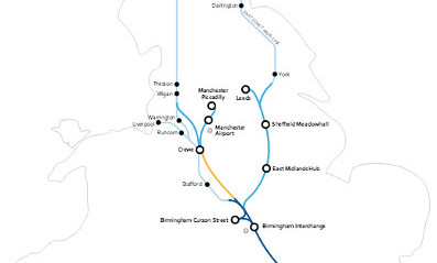 Fig 2. Pennines split East-West HS2 links