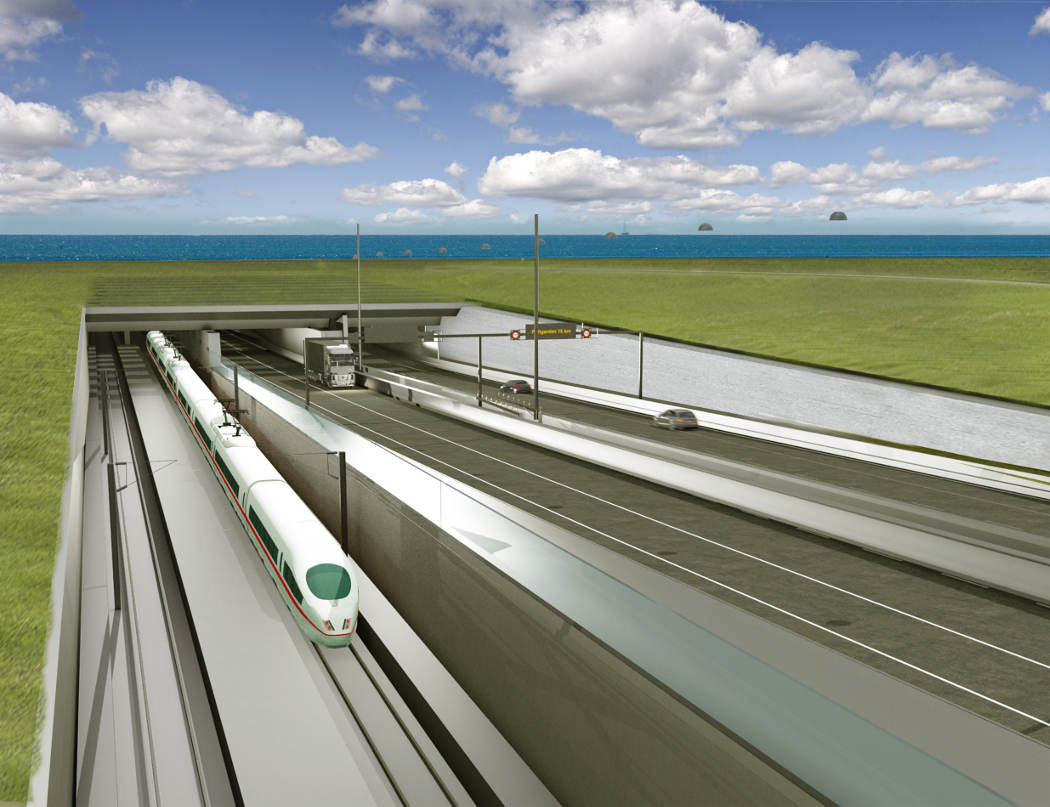 18km long fixed link between Denmark and Germany