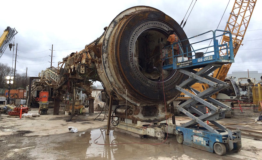 Robbins TBM being refurbished at the jobsite
