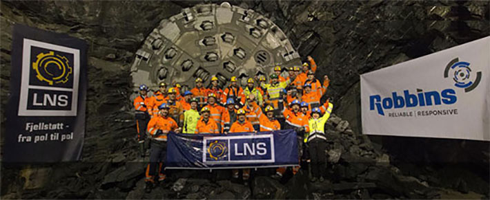 LNS TBM breakthrough celebrations at Røssåga