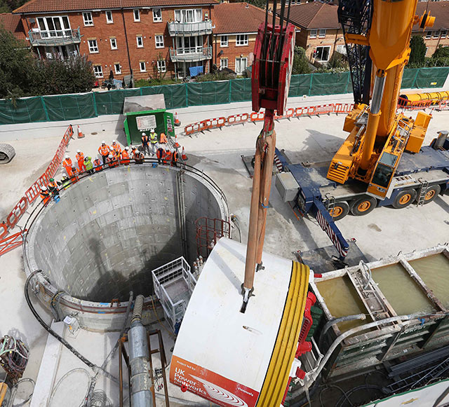 Aerial view of the launch shaft in Southwark, south-esat London