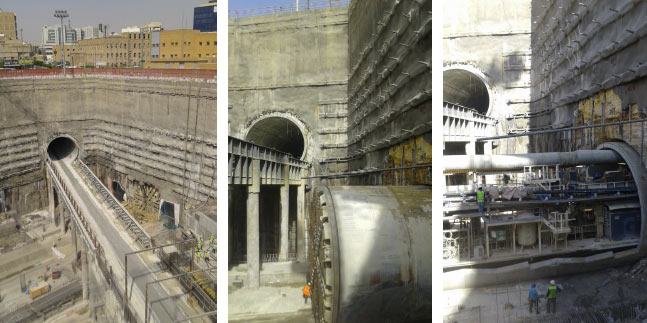 Complex accommodation of TBM drives in the Qasr Al Hoqm Downtown Station box