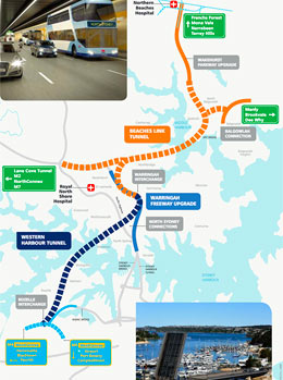 Fig 2. Proposed Western Harbour Tunnel and Beaches Link Tunnel routes