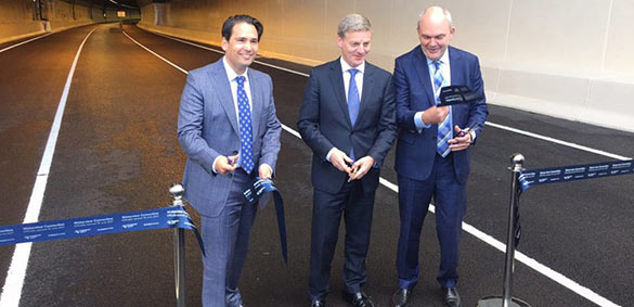 New Zealand Prime Minister Bill English and Transport Minister Simon Bridges open the Waterview Connection