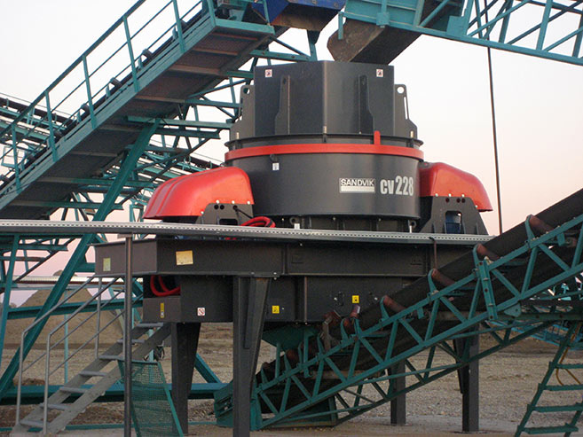 Close up of a CV impactor manufacturing sand