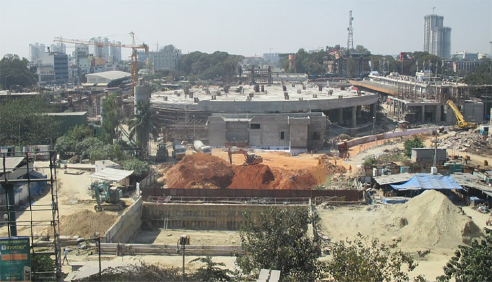 Open cut construction of the central Majestic Station caused delayed opening of the full Phase 1 metro services