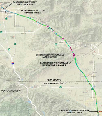 Fig 3. Bakersfield to Palmdale through the Tehachapi Mountains, proposed tunnels in purple