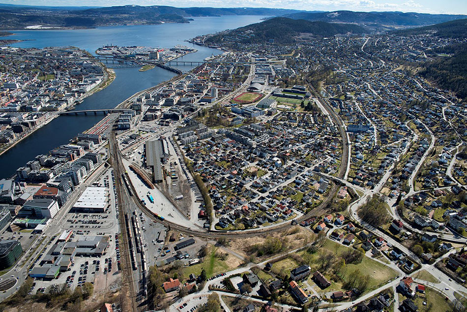 Aerial view of Drammen