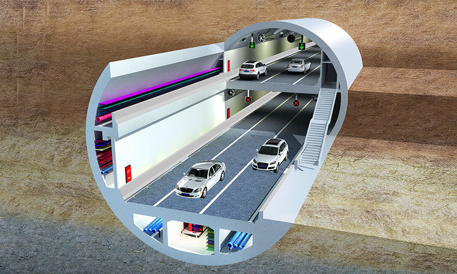 The large diameter will accommodate a four-lane double-decked highway