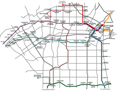 Fig 1. Expansion plans for the LA Metro with the Subway to the Sea (dashed purple line) and the Regional Connector (dashed blue line) currently in design