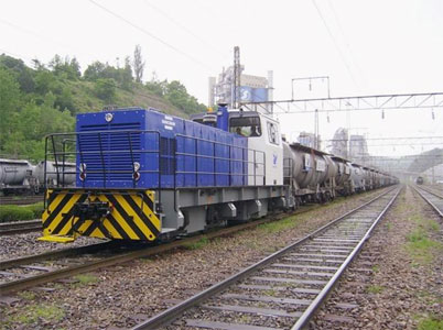 Shunting locomotive at a cement plant in South Korea