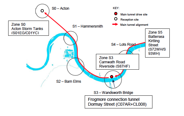 Fig 4. Amended west Thames Tunnel shaft locations